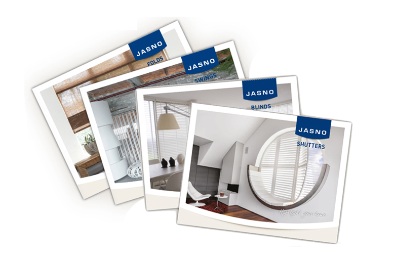 4 brochures van JASNO - Shutters, Blinds, Folds en Swings